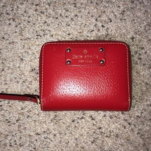Bright patent red small Kate Spade wallet